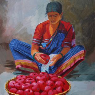 Fruit seller by bhandare m k, Expressionism Painting, Acrylic on Canvas, Brown color
