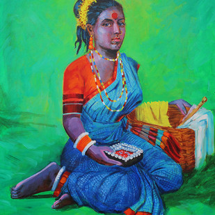 Koravanji by bhandare m k, Expressionism Painting, Acrylic on Canvas, Green color