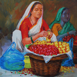 Flower seller by bhandare m k, Expressionism Painting, Acrylic on Canvas, Brown color