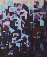 Untitled by Karishma Wadhwa, Expressionism Painting, Acrylic on Canvas, Blue color