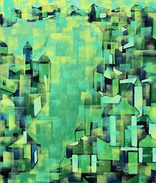 Untitled by Karishma Wadhwa, Abstract Painting, Acrylic on Canvas, Green color