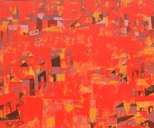 untitled by Karishma Wadhwa, Abstract Painting, Acrylic on Canvas, Red color