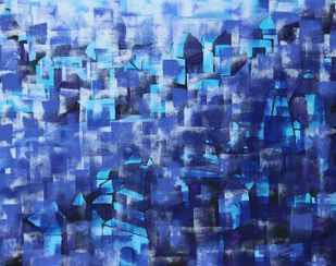 untitld by Karishma Wadhwa, Abstract Painting, Acrylic on Canvas, Blue color