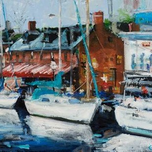 Annapolis Wharf Digital Print by Crain, Curt,Expressionism