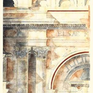 Classical Architecture I GOLD Digital Print by Vision Studio,Realism