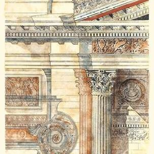 Classical Architecture II GOLD Digital Print by Vision Studio,Realism