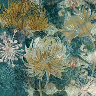 Navy Chrysanthemums II Digital Print by Woods, Maria,Expressionism