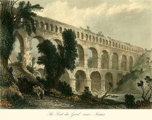 The Pont du Gard, near Nismes Digital Print by Allom, T.,Realism