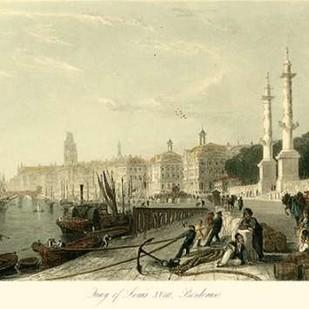 Quay of Louis XVIII, Bordeaux Digital Print by Allom, T.,Realism