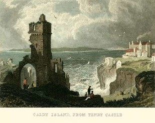 Caldy Island, from Tenby Castle Digital Print by Allom, T.,Realism