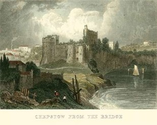 Chepstow from the Bridge Digital Print by Allom, T.,Realism