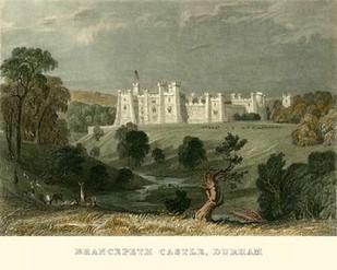 Brancepeth Castle, Durham Digital Print by Allom, T.,Realism
