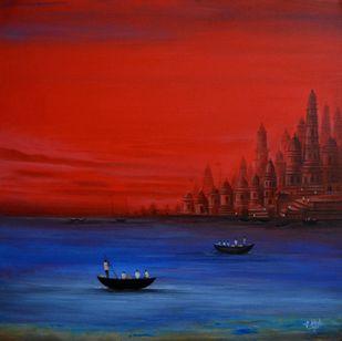 Banaras -1 by Atul Virkar, Decorative Painting, Acrylic on Canvas, Red color