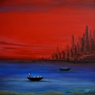 Banaras -1 by Atul Virkar, Decorative Painting, Acrylic on Canvas, Red color