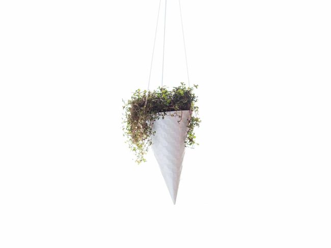 PoppadumArt Ice-cream Cone Planter - White Garden Decor By PoppadumArt