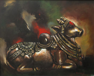 Nandi by Shruti Goyal, Realism Painting, Acrylic on Canvas, Brown color