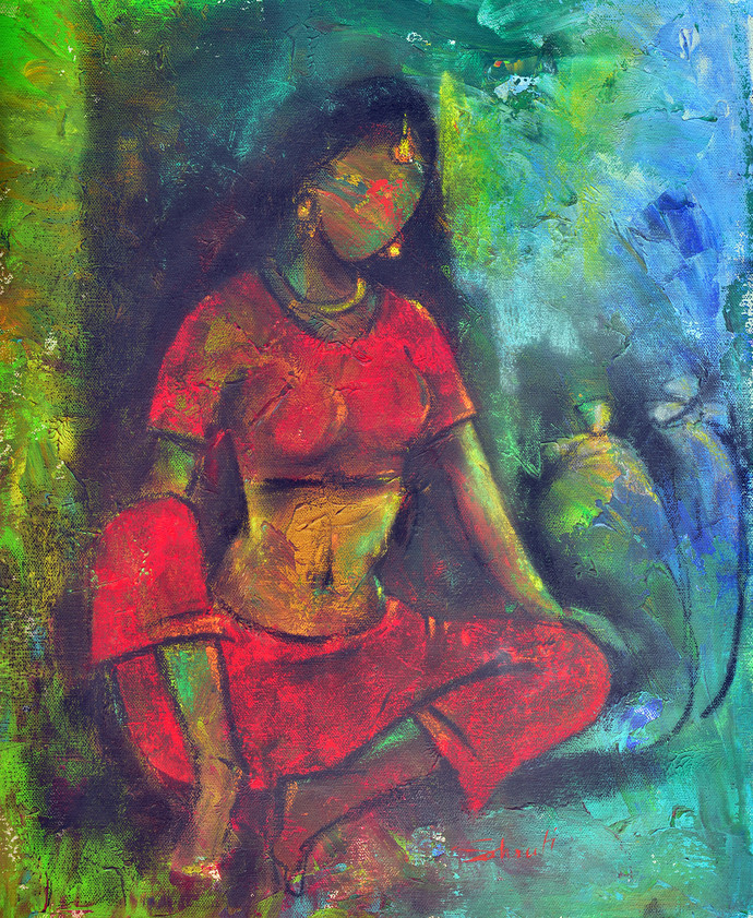 She II by Shruti Goyal, Impressionism Painting, Mixed Media on Canvas, Green color