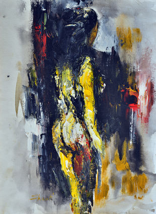 She Vi by Shruti Goyal, Expressionism Painting, Acrylic on Canvas, Gray color