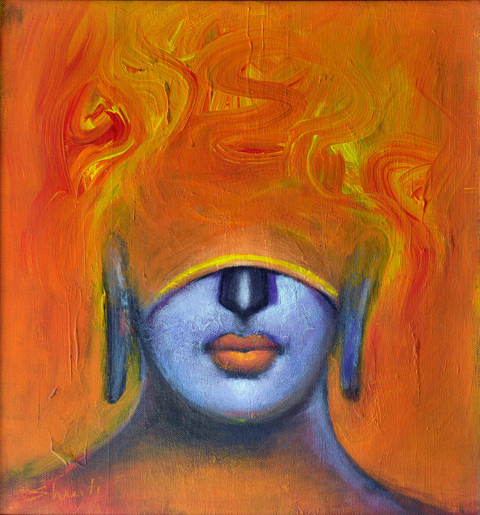 Inside by Shruti Goyal, Expressionism Painting, Mixed Media on Canvas, Orange color