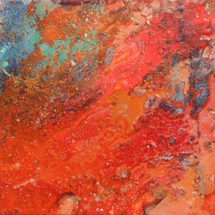 Untitled (Interstellar Series) by Bahaar Dhawan Rohatgi, Abstract Painting, Mixed Media on Canvas, Red color