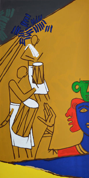 Folklore Kerala - X by M F Husain, Folk Printmaking, Serigraph on Paper, Brown color