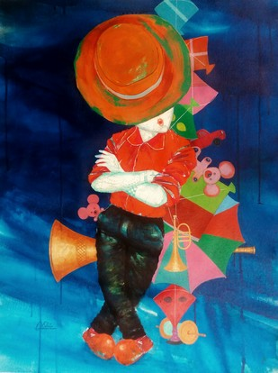 The passion of childhood by shiv kumar soni, Decorative Painting, Acrylic on Acrylic Sheet, Blue color