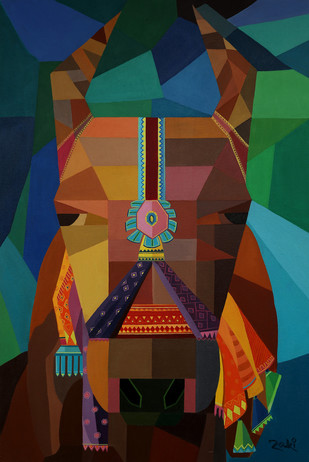 Kamadhenu by Studio Zaki, Geometrical Painting, Acrylic on Canvas, Brown color