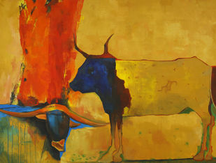 Bulls: An Abstract Study by Studio Zaki, Impressionism Painting, Acrylic on Canvas, Brown color