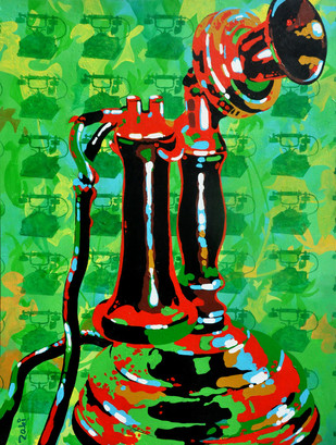 Call me old fashioned by Studio Zaki, Pop Art Painting, Acrylic on Canvas, Green color