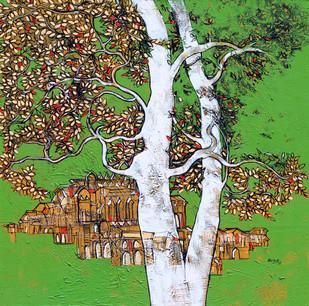 Tree of Life by Bhaskara Rao Botcha, Impressionism Painting, Acrylic on Canvas, Beige color
