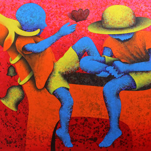 Athkheliya by Lakhan Singh Jat, Decorative Painting, Acrylic on Canvas, Red color