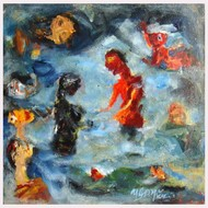 a holy dip by Madhu Dhanuka Jain, Impressionism Painting, Acrylic on Canvas, Green color