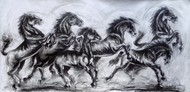 Force by Ananda Das, Expressionism Drawing, Charcoal on Paper, Gray color