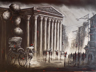 Heritage Kolkata At Monsoon by Ananda Das, Expressionism Painting, Acrylic on Canvas, Brown color
