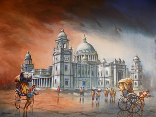 Kolkata 1 by Ananda Das, Expressionism Painting, Acrylic on Canvas, Brown color