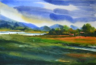 Close to Nature by prasanta maiti, Impressionism Painting, Watercolor on Paper, Green color