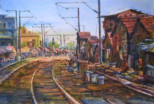 Slum by prasanta maiti, Impressionism Painting, Watercolor on Paper, Brown color