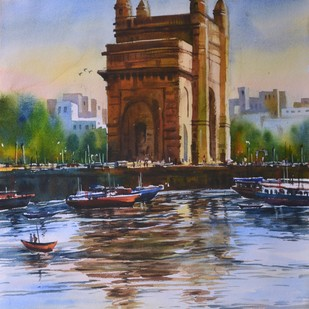 Gateway of India by prasanta maiti, Impressionism Painting, Watercolor on Paper, Brown color