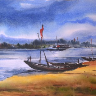 Nature 01 by prasanta maiti, Impressionism Painting, Watercolor on Paper, Brown color