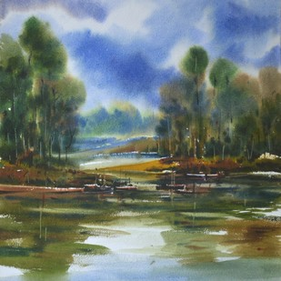 nature02 by prasanta maiti, Impressionism Painting, Watercolor on Paper, Green color