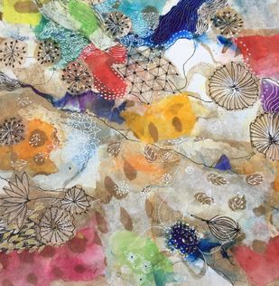My incandescent world 9 d by Mahalaxmi, Decorative Painting, Mixed Media on Canvas, Beige color