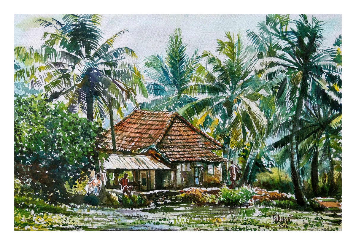 Landscape 6 by Prabhakaran, Expressionism Painting, Watercolor on Paper, Green color