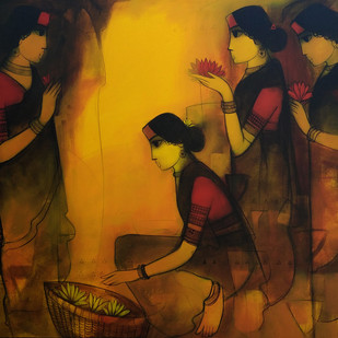 untitled by Sachin Sagare, Decorative Painting, Acrylic on Canvas, Brown color