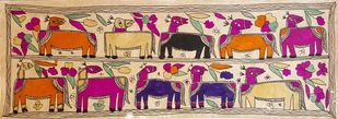 Camel Caravan by Yamuna Devi, Folk Painting, Water Based Medium on Paper, Brown color