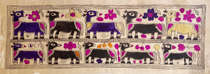Idle Camels by Yamuna Devi, Folk Painting, Water Based Medium on Paper, Beige color