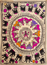 Warzone by Yamuna Devi, Folk Painting, Water Based Medium on Paper, Brown color
