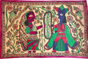 Jaimaal by Urmila Devi, Folk Painting, Water Based Medium on Paper, Brown color