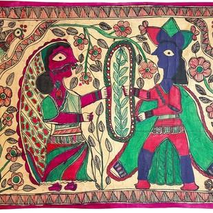Jaimaal by Urmila Devi, Folk Painting, Water Based Medium on Paper, Brown color