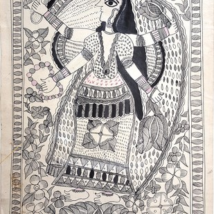 Goddess of Wealth And Beauty by Urmila Devi, Folk, Folk Painting, Water Based Medium on Paper, Gray color