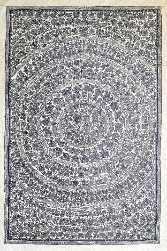 The Consecrated Diwali by Urmila Devi, Folk Painting, Pen & Ink on Canvas, Gray color